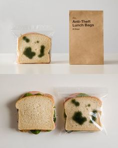 <3 Anti-Theft Lunch Bags: Lunch Bugs and Mold Sandwich Bags have a skittery surprise. Need some security when it comes to your sandwich? Our Lunch Bugs Sandwich Bags have a pre-printed bug on the sandwich bag.     The pest that goes to steal your sandwich will see a pest of another kind already calling dibs!
