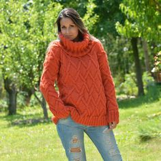 Clothing, Shoes & Accessories Symbol Of The Brand ❤ Sale ❤ Brown Hand Knit Wool Non Mohair Sweater Soft Turtleneck Extravagantza Year-End Bargain Sale