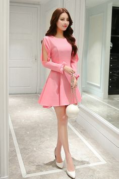 #Price: $10.25 Elegant Fashion Hollow Out Work Dresses (Rose/Khaki)