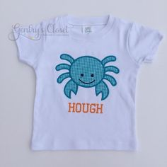 Appliqued Crab Shirt for Little Boy. Aqua & Orange Tshirt for Summer | Gentry's Closet | $24 | Click link to shop: http://gentryscloset.com/collections/boys/products/crabshirt