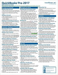 QuickBooks Pro 2017 Quick Reference Training Card - Laminated Tutorial Guide Cheat Sheet (Instructions and Tips): TeachUcomp Inc: 9781941854112: AmazonSmile: Books