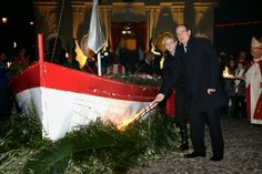 Prince Albert and Princess attend the Ceremony of the Sainte Devote 1/26/14