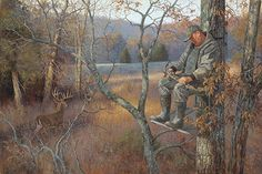 """This painting came from an archery hunt in Tennessee where we were up each morning at 3:00 in order to be where we needed to be before daylight. Some times it caught up with us.Featured in the book, """"Wild Things, Wild Places""""Available as:Artist Proof"""