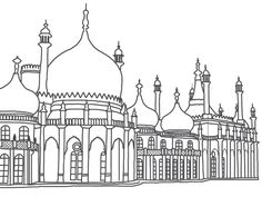 Brighton Pavilion sketched on Photoshop