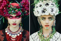 Цветочные мотивы: польские красавицы в роскошных национальных венках.....