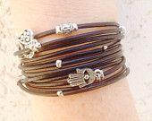 Custom Boho Black Leather Wrap Bracelet, Handmade Triple wrap bracelet, Tibetan beaded wrap, Kabbalah bracelet, Evil Eye Charm Bracelet