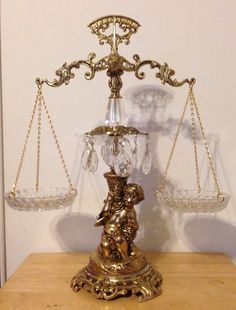 Ornate L&L WMC 9137 SCALE OF JUSTICE WITH CHERUB AND CRYSTAL 24K Gold Plated
