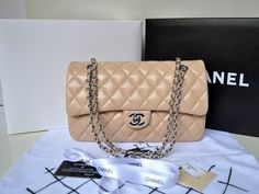 Chanel 1113 Lambskin Leather Shoulder Bag Apricot/Silver