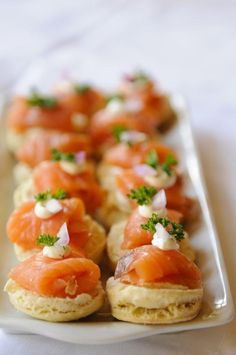 Canapé - a small, prepared and usually decorative food, held in the fingers and often eaten in one bite.