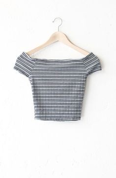 "- Description Details: Striped ribbed off shoulder crop top in black. Form fitting, tend to run on the smaller side & are more fitted. Measurements (Size Guide): S: 24"" bust, 12.5"" length M: 26"" bust,"