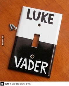 Love it! Dorky, but I think I have to find a spot in the game room for this one! Light Switch Plates, Light Switch Covers, Diy Quartos, Outlet Covers, Decore Sua Casa, Handmade Gifts, Star Wars Light, Star Wars Bedroom, Geek Bedroom