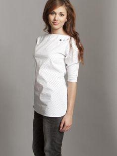 White blouse with black dots and coloured snaps. Rock Café Fashion, Boutique Prague