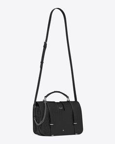 e25a363447 Large CHARLOTTE Messenger Bag in Black crocodile embossed leather