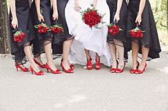 bride and bridesmaid's shoes red black white wedding