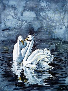 Swan Couple, Watercolor painting by Zaira Dzhaubaeva
