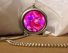 Pink Hair Girl Art Necklace, Pink Pendant, Purple Flower Necklace, Sexy girl, Fantasy Artwork, Art Pendant, Floating Charm, Fantasy Pendant by NanaFantasyJewelry on Etsy
