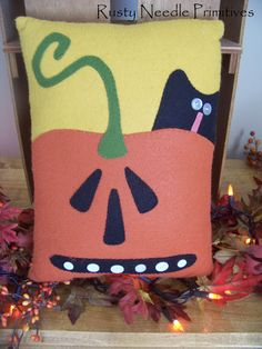 Wool Felt Appliqued Black Cat Jack by Rusty Needle Primitive, using a Country stitches pattern on Etsy, $16.00