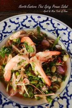 North-Eastern Thai Spicy Prawn Salad | Unique sweet, exciting marine style spiciness from chili jam.