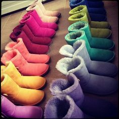 Colourful fur Uggs.