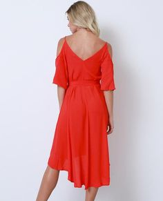 +Non-stretchy high and low hem wrap dress