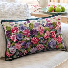 Sweet pea tapestry  (needlepoint) cushion and floral cream sofa from Ehrman Tapestry