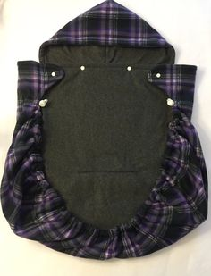 Purple / Gray / White Plaid Baby Carrier Cover / Blanket /
