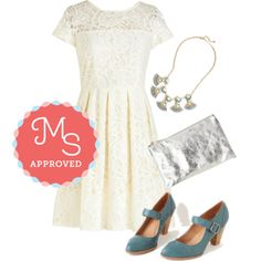 Cream and Sugar Cookie Dress by modcloth on Polyvore featuring Chelsea Crew, outfit, wedding, bridal and modcloth