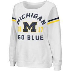 Michigan Wolverines Ladies Tailgate Boatneck Sweatshirt - White