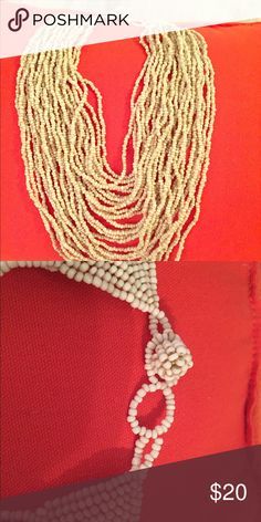 Beach Vibe Beaded Statement Necklace Beautiful never worn natural color beaded statement necklace. Bought off Etsy for my beach themed wedding and ended up wearing something else! Would look stunning with strapless maxi!! custom Jewelry Necklaces