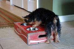 DIY::Vintage Coca-Cola Crate Turned Dog Bowl Holder