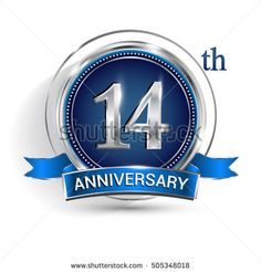 Celebrating 14th anniversary logo, with silver ring and blue ribbon isolated on white background.