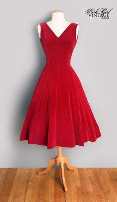 1950's Red Velvet Designer Anne Fogarty Evening Dress