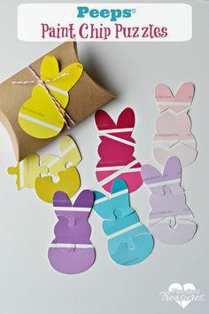 Easy Peeps® paint chip puzzles are the perfect way to celebrate spring with your kiddos! This activity is simple, educational and crazy fun! @alicanwrite