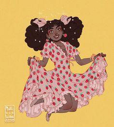 Strawberry Drawing, Strawberry Art, Strawberry Dress, Black Girl Art, Art Girl, Pretty Art, Cute Art, Retro, Black Art Pictures