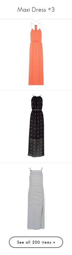 """Maxi Dress #3"" by dreamsweet98 on Polyvore featuring dresses, vestidos, maxi dress, coral, draped maxi dress, loose fit dress, ruched waist dress, georgette maxi dress, zip dress e black"