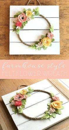 Felt flower spring wreathSpring farmhouse decor | Spring farmhouse decorations | farmhouse decor | farmhouse decorations | farmhouse sign | handpainted farmhouse sign | farmhouse wreath #farmhouse #ad #affiliate