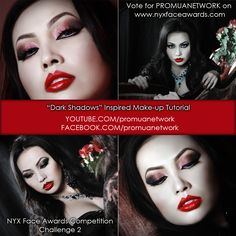 """I made it round 2! Here's my latest challenge - """"Dark Shadows"""" inspired! Support me by voting for PROMUANETWORK on www.nyxfaceawards.com"""