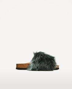 Image 1 of FLAT FURRY SANDALS from Zara