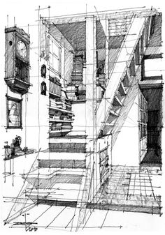 Architectural Drawings Perspectiva de escaleras