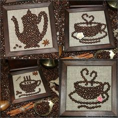 Jute Crafts, Diy Arts And Crafts, Diy Crafts To Sell, Creative Crafts, Coffee Shop Business Plan, Coffee Bean Art, Seed Art, Acrylic Painting For Beginners, Coffee Crafts