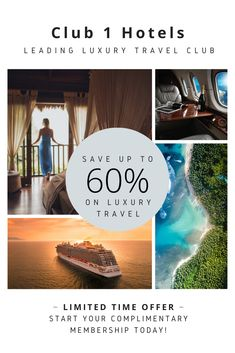 Limited time only, join Club 1 Hotels for free and start saving on luxury hotels, resorts, cruises and more! Luxury Hotels, Hotels And Resorts, Luxury Travel, Fine Hotels, Car Rental, Cruises, Hotel Offers, Traveling, Join