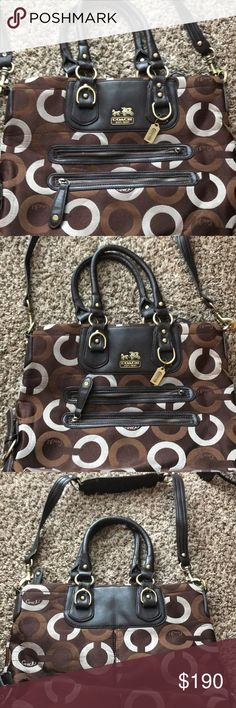 Large Coach Purse Large Brown and black Coach Purse with 2-way straps! Coach Bags Travel Bags