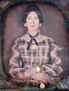 Lovely Seated Woman Gold Jewelry Painted in Antique Daguerreotype Photograph | eBay
