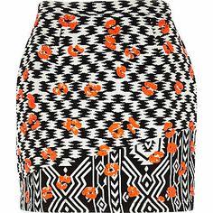 Black jacquard embellished mini skirt £35.00