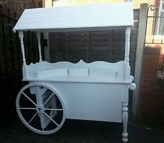 LARGE FOLD UP COLLAPSABLE WEDDING SWEET CANDY CART, IN WHITE WITH LARGE WHEELS | eBay Candy Buffet Tables, Candy Table, Folding Cart, Wooden Cart, Sweet Carts, Candy Cart, Flower Cart, Ice Cream Candy, Cupcake Display