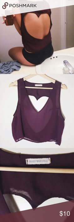 RARE NWOT Brandy Melville Heart Cut-Out Tank Sheer merlot color, great flowy fit! They don't make this style anymore so it's a rare find. Perfect condition!  one size fits most Brandy Melville Tops Tank Tops