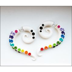 Rainbow fake gauges earrings, white gauges earrings, rainbow octopus,... (29 CAD) ❤ liked on Polyvore featuring jewelry, earrings, white jewelry, artificial jewellery, fake earrings, octopus earrings and imitation jewelry