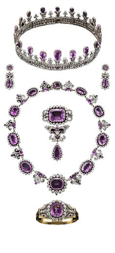 Jewels / karen cox.  Amythest parure - Sweden's royal jewels