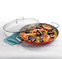 Summer is the perfect time for Paella!  The Cuisinart Paella Pan makes it so easy and it's pretty to serve right in the pan. #Cookware #Cuisinart #PaellaPan