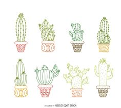 Cactus outline drawings set - Free Vector